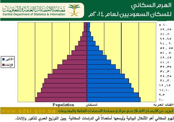 الهرم السكاني للسكان السعوديين بنهاية عام 2014